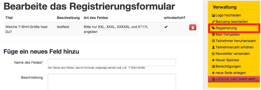 Screenshot des Registrierungsformulars