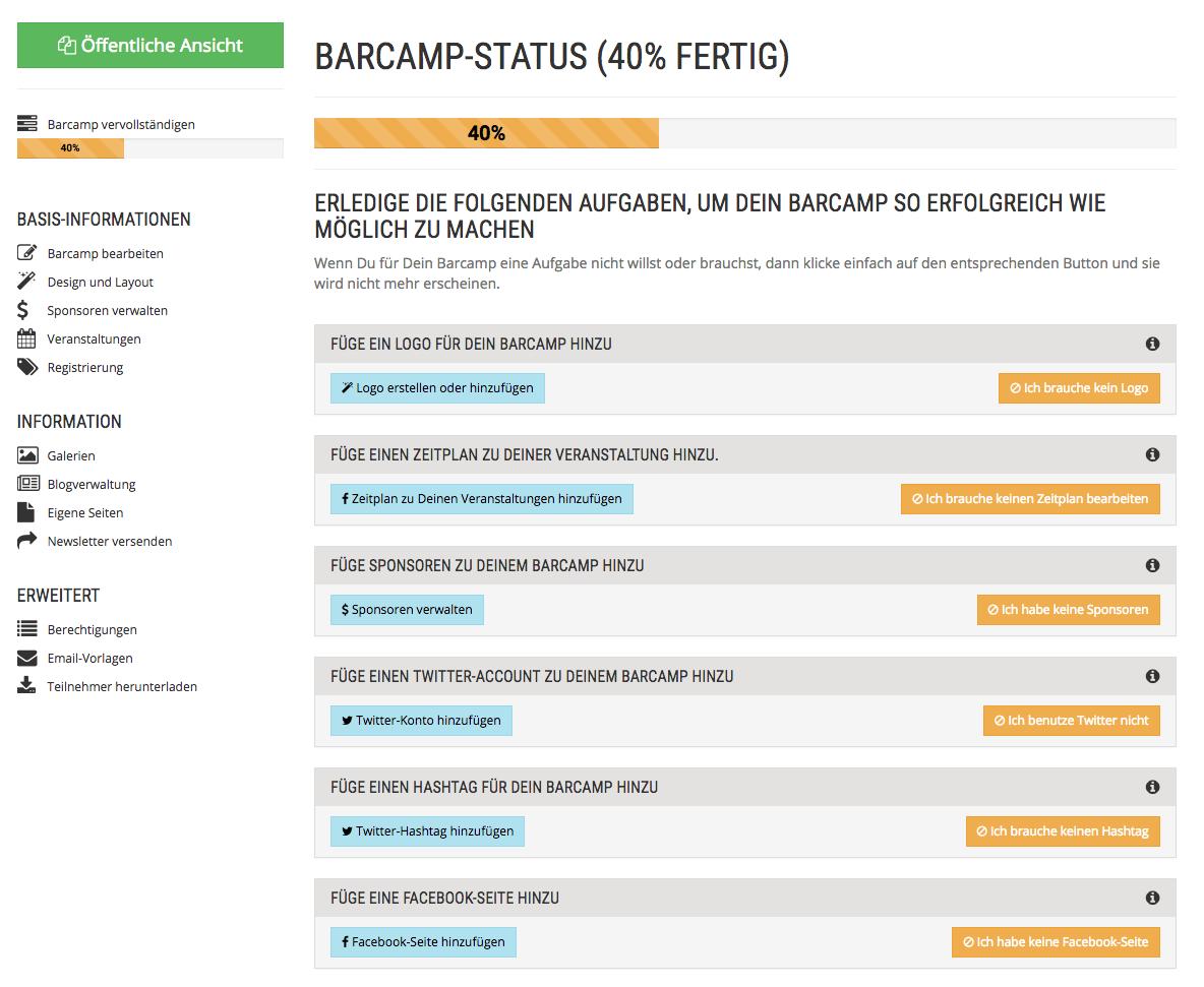 Veranstalter-Checkliste für ein Barcamp