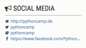Social Media-Ansicht im Sidebar in camper 2.3