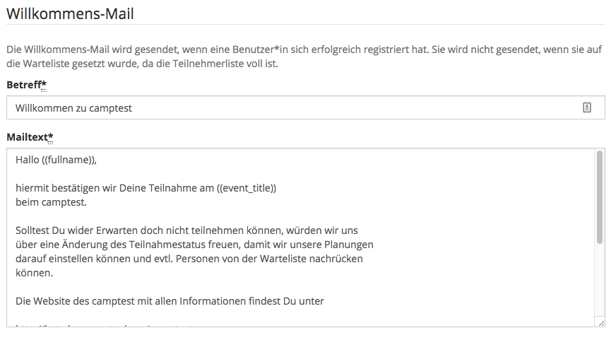 Der Mail-Template-Editor
