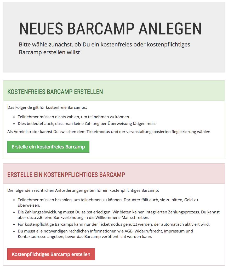 Auswahl kostenpflichtig/kostenfrei beim Anlegen eines neuen Barcamps